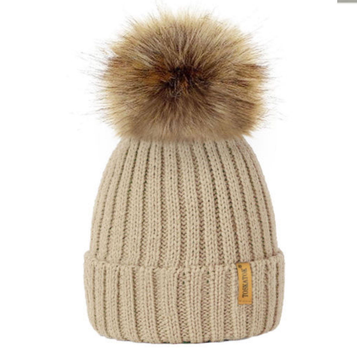 Ribbed Beanie Hat With Detachable Large Faux Fur Pom Pom (Beige ... 7e7ee4a4f81