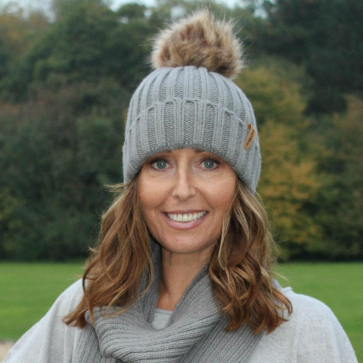 5ffcd2a3ac0 Ribbed Beanie Hat With Faux Fur Pom Pom (Grey) – Muddy-Footprints