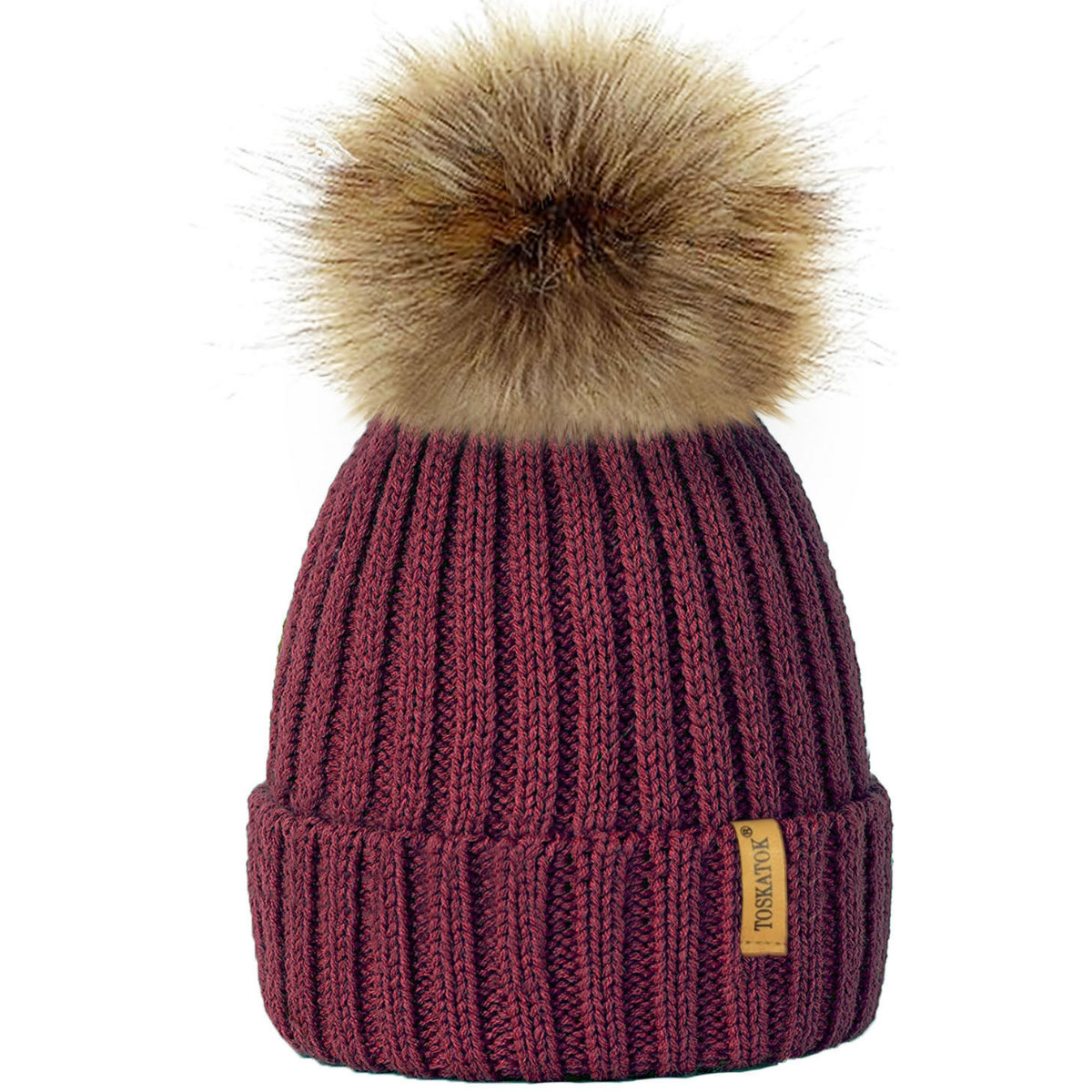 403061fd74f Ribbed Beanie Hat With Detachable Large Faux Fur Pom Pom (Burgundy ...