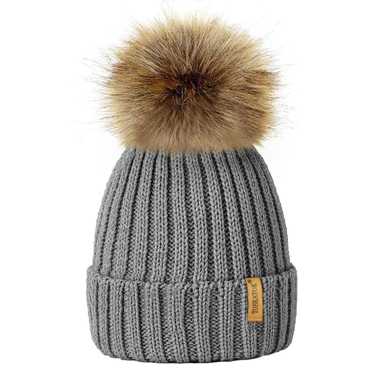 Ribbed Beanie Hat With Faux Fur Pom Pom (Grey) – Muddy-Footprints 392895cd1b8
