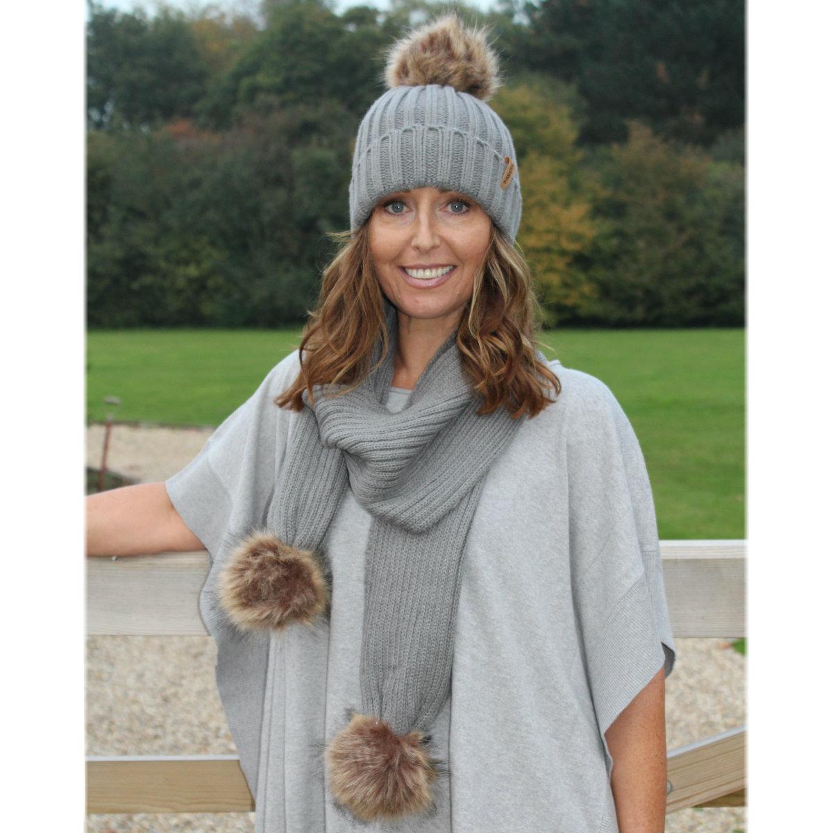 228c1e48918 Faux Fur Hat   Scarf Gift Set (Grey) – Muddy-Footprints