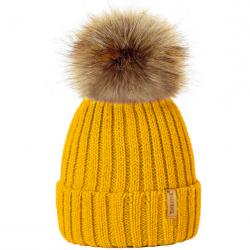 d617e881b0f Ribbed Beanie Hat With Detachable Large Faux Fur Pom Pom (Beige ...