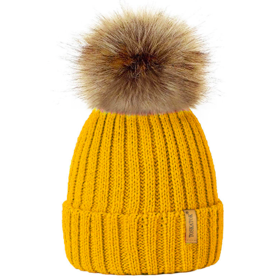Ribbed Beanie Hat With Faux Fur Pom Pom (Mustard) – Muddy-Footprints 504f4d7d248